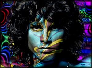 Jim Morrison psychedleich ingekleurd